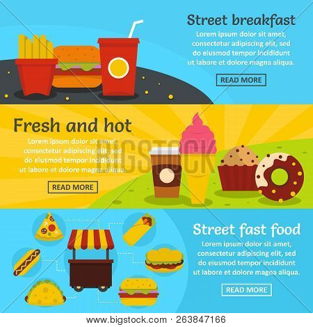 Street Fast Food Banner Horizontal Concept Set. Flat Illustration Of 3 Street Fast Food Banner Horiz
