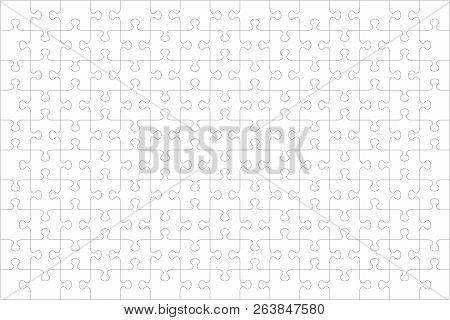 Jigsaw Puzzle Blank Template Or Cutting Guidelines Of 150 Transparent Pieces, Landscape Orientation,