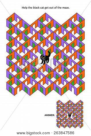 Halloween Festival Themed Rooms And Doors Maze Game Or Activity Page: Help The Black Cat Get Out Of
