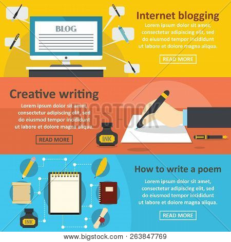 Blogging Write Banner Horizontal Concept Set. Flat Illustration Of 3 Blogging Write Banner Horizonta