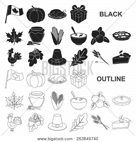 Canada Thanksgiving Day Black Icons In Set Collection For Design. Canada And Tradition Vector Symbol
