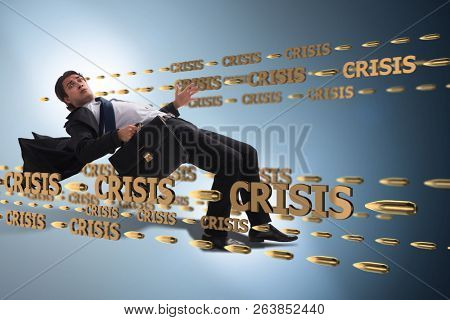 Business concept of crisis and recession poster