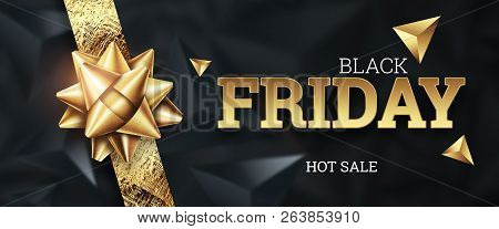 Sale, Promo Banners For Black Friday, Inscription Black Friday On A Dark Background, Hot Sale, Disco
