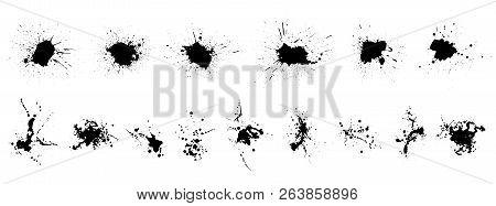Grunge Set. Detailed Grunge Backgrounds. Stain. Ink Splash. Isolated Backdrops For Text Or Logo. Liq