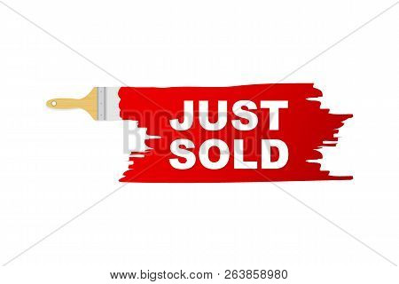 Banner With Brushes, Paints - Just Sold. Vector Stock Illustration.