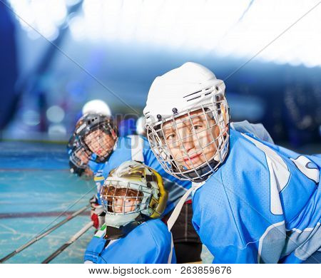 Ice Hockey Player With Teammates During The Match