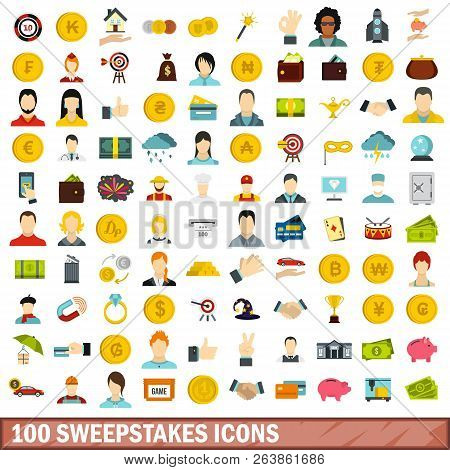 100 Sweepstakes Icons Set In Flat Style For Any Design Illustration