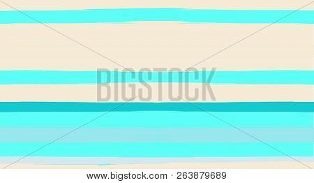 Navy Paintbrush Horizontal Seamless Sailor Stripes. Geometric Simple Funky Graffiti Fabrics Texture.