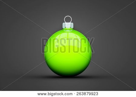 green Christmas ball isolated with text space 3d illustration