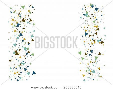 Bang, Blast, Glass Memphis Vector Frame. Triangle Fragmentation Particles Explosion Border Design. B
