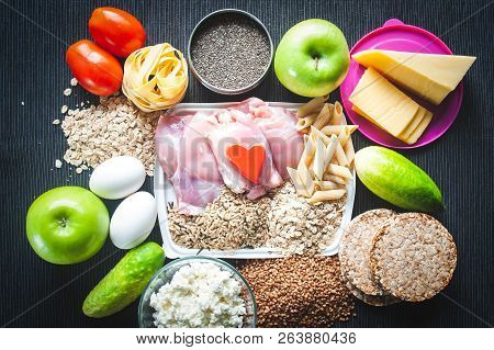 Fitness Food.  Theme Of Nutrition And Sports. Shredded Body. Sports Nutrition. Healthy Lifestyle