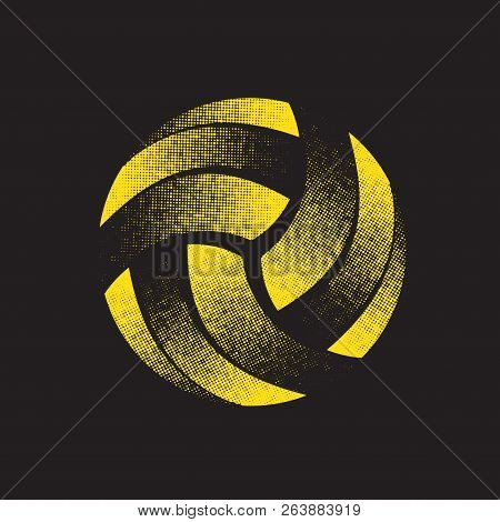 Abstract Flat Yellow Halftone Volleyball Silhouette Isolated On Black Background