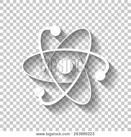 Scientific Atom Symbol, Logo, Simple Icon. White Icon With Shado