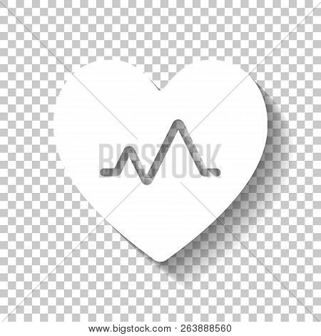 Cardiac Pulse. Heart And Pulse Line. Simple Single Icon. White I