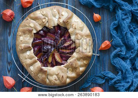Vegan Baking Biscuit With Plums And Almonds