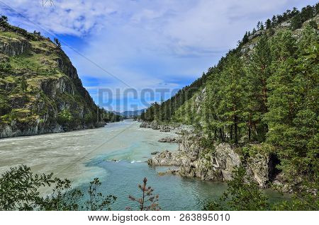 Beautiful Sunny Summer Landscape On Place Where Chemal River Flows Into Katun River - Two Fast Mount