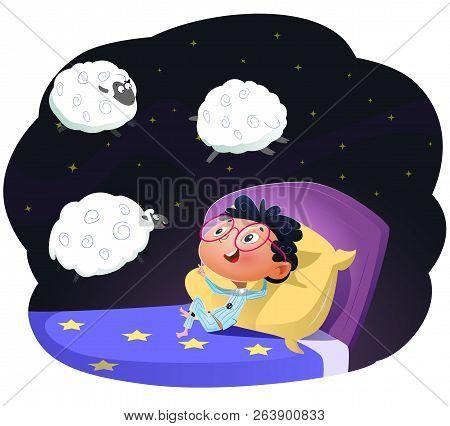 Boy Counting Sheep To Fall Asleep. Cartoon Vector Llustration