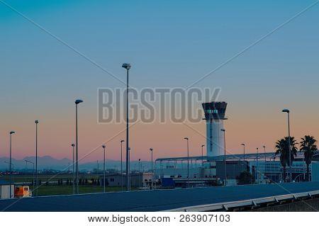 Tirana, Albania - December 2014: Tirana International Airport Mother Tereza, Or Rinas International