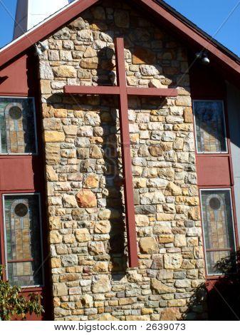 Cross On Rock Wall