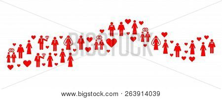 Mosaic map of the Gambia formed with red marriage people. Vector lovely geographic abstraction of map of the Gambia with red romantic symbols. Romantic flat design for marriage purposes. poster