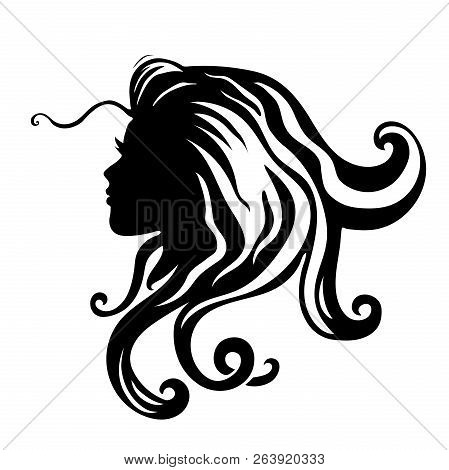 Vector Silhouettes Of Girl Hairstyles. Profile. Girls Silhouette .silhouette Of Beautiful Woman.