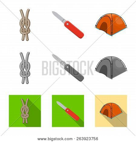 Vector Illustration Of Mountaineering And Peak Symbol. Collection Of Mountaineering And Camp Stock V