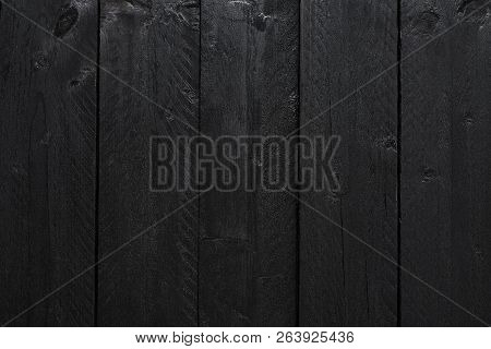 Wood Texture Or Black Wood Background. Wood For Interior Exterior Decoration And Industrial Construc