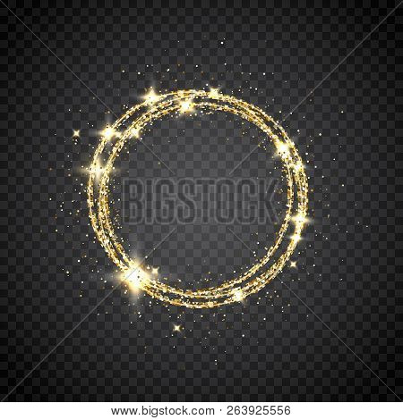 Glitter Gold Circle Frame With Space For Text. Sparkling Golden Frame On Transparent Background. Bri