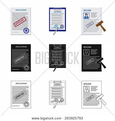 Vector Illustration Of Form And Document Symbol. Set Of Form And Mark Stock Vector Illustration.