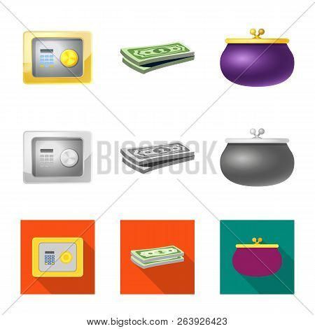 Isolated Object Of Bank And Money Sign. Collection Of Bank And Bill Stock Vector Illustration.