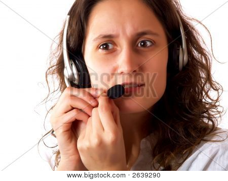 Upset Woman Wearing A Headset