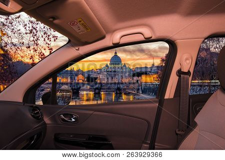 Car Window With View Of Saint Peter's Church, Rome, Italy