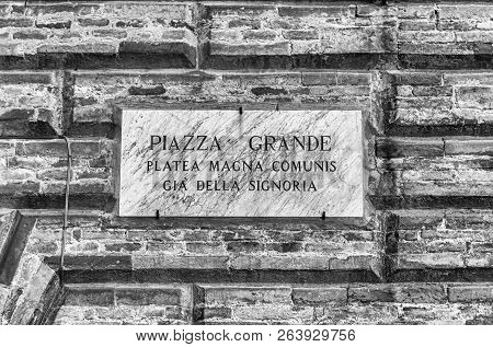 Street Sign For Piazza Grande, Scenic Main Square In Gubbio, One Of The Most Beautiful Medieval Town