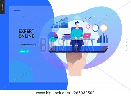 Business Series, Color 2 - Expert Online Consulting -modern Flat Vector Illustration Concept Of Cons