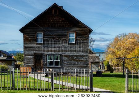 FORT STEELE, BC, CANADA - SEPT. 27, 2018: Heritage town from Gold Rush era. Located in the Canadian Rockies, British Columbia, Canada.