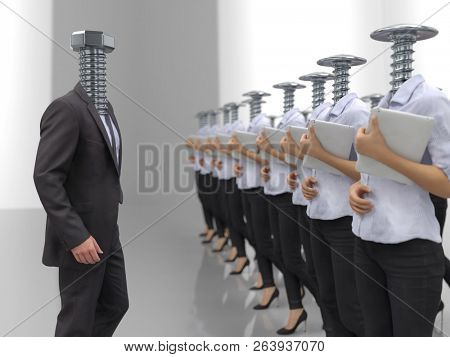 personnel management on corporate briefing, 3d illustration