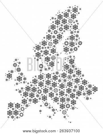 Map Of Euro Union Composed With Gray Wheel Symbols. Vector Abstract Mosaic Of Map Of Euro Union With