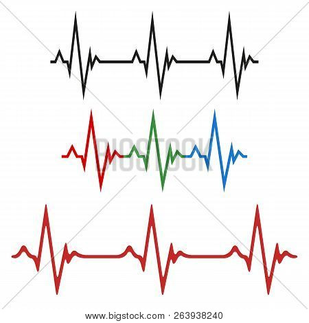 A Set Of The Cardiograms Of The Heart. The Concept Of A Healthy Heart. Vector Illustration Of Heart