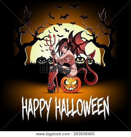 Happy Halloween. Sexy Devil Girl Sitting On A Halloween Pumpkin On The Background Of An Ominous Fore