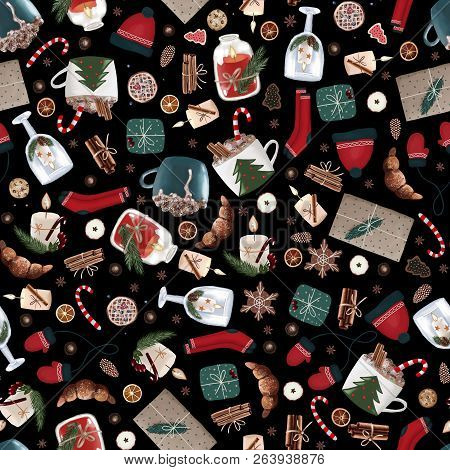 Hygge Christmas Seamless Pattern With Cute And Cozy Christmas Items On A Black Background. Dark Xmas
