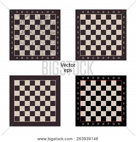 Four Empty Chess Boards On Isolated White Background. Grunge Effect, Scuffs, Scratched. Boards For I