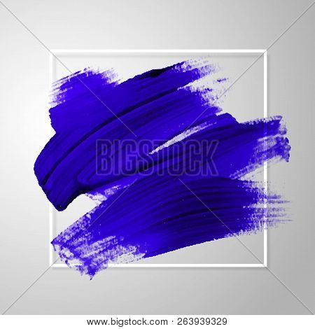 Artistic Square Backdrop, Vector With Brush Strokes Blue Colors, Oil Paint Look Background With Colo