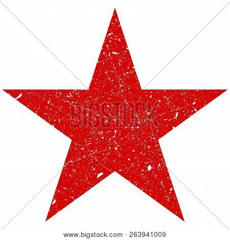 Grunge Is A Red Big Star. Vector Shabby, Scratched Star. Grunge Star Symbol. Eps.
