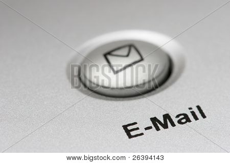 macro of an email button on keyboard, shallow depth of field