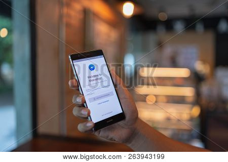 Chiang Mai, Thailand - June 09,2018: Man  Holding Huawei With Facebook Messenger App On Screen.faceb