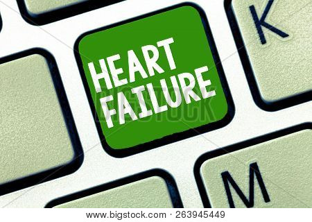Handwriting Text Heart Failure. Concept Meaning Failure Of The Heart To Function Well Unable To Pump
