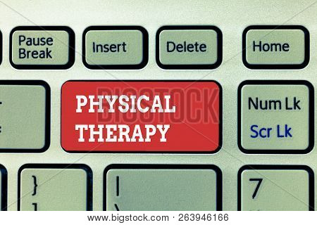 Handwriting Text Writing Physical Therapy. Concept Meaning Treatment Or Analysisaging Physical Disab