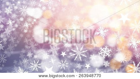 Digital composite of Snowflakes and lights
