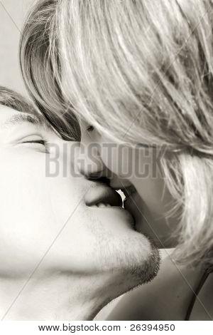 Pair Kissing, Valentine's Day, B&w