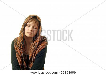 Shy Women With A Shawl On Her Head